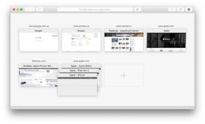 Быстрый просмотр открытых вкладок в Safari